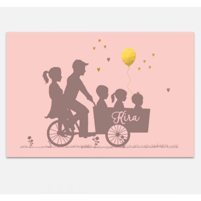 Geboortekaartje 3de kindje in bakfiets