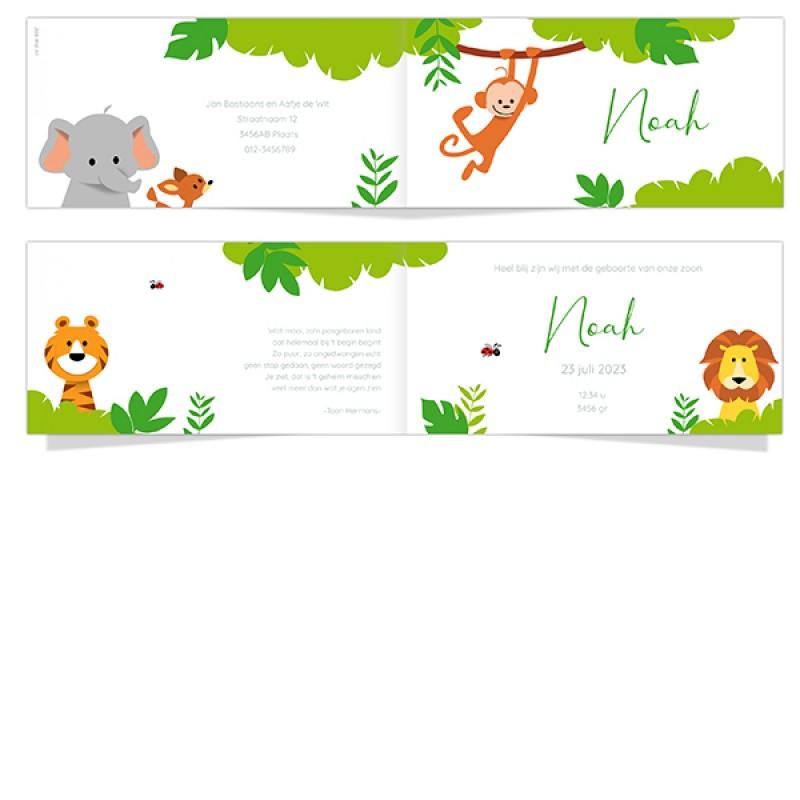 Geboortekaartje aapje in jungle