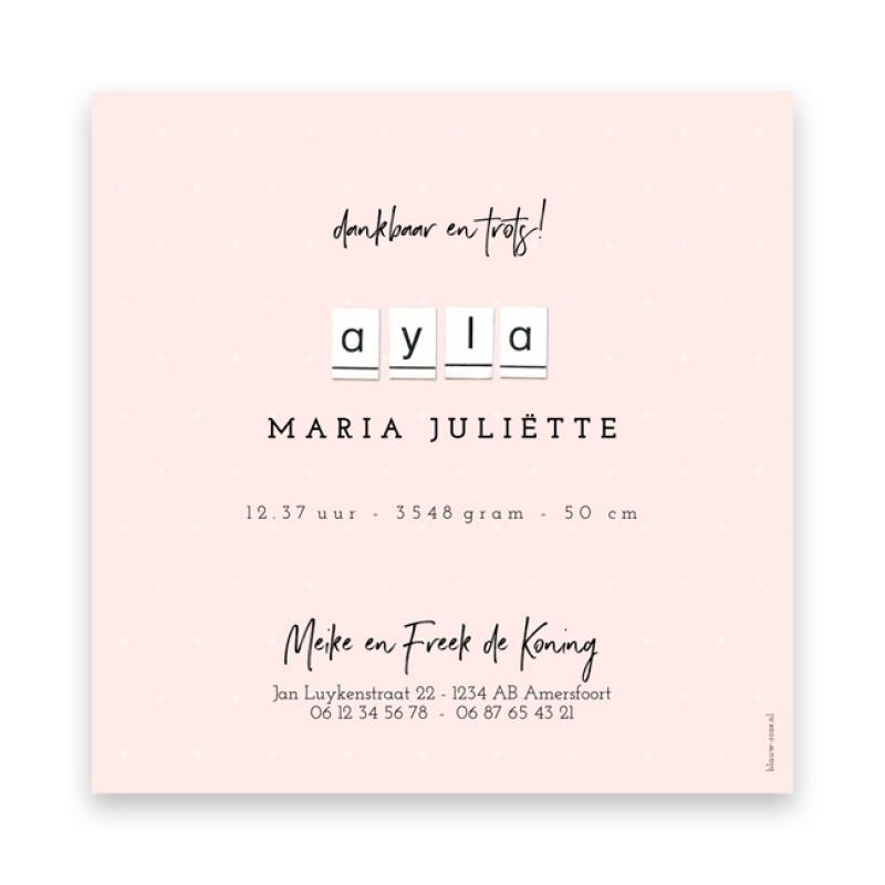 Geboortekaartje Ayla