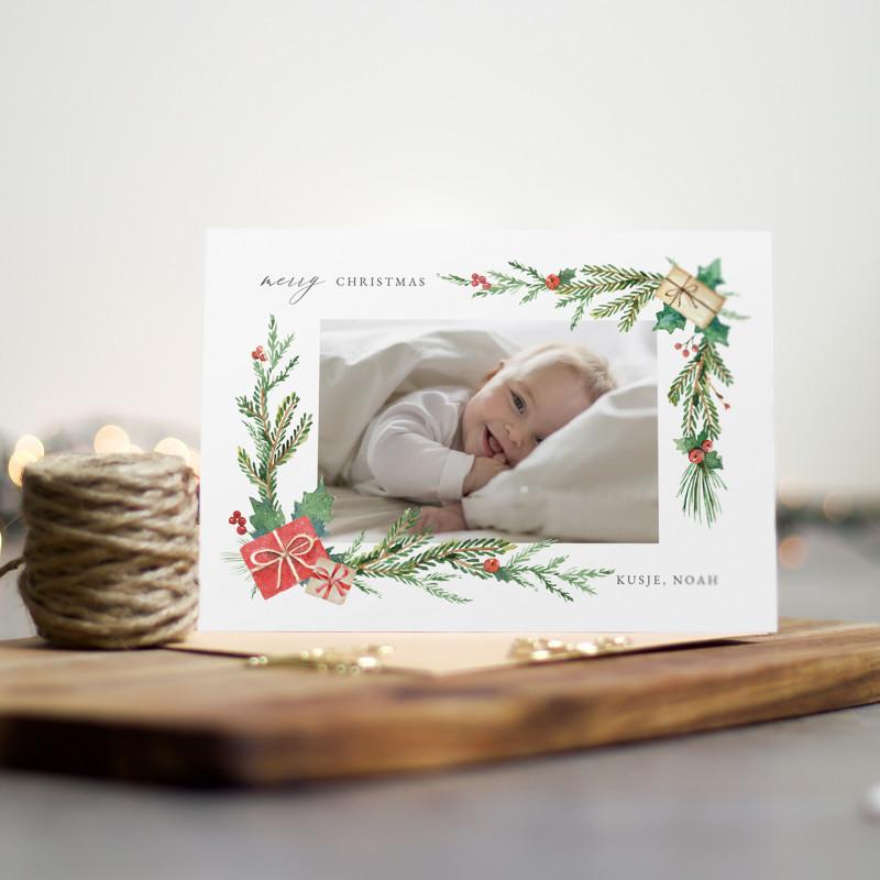 Geboortekaartje Baby foto kerstcadeautjes