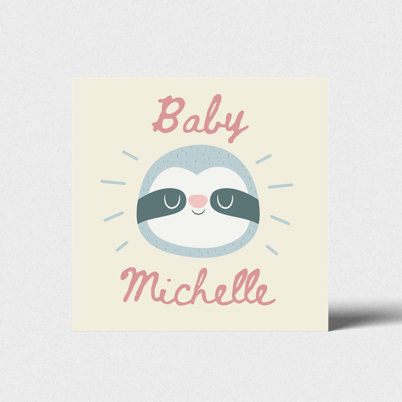Geboortekaartje Baby luiaard