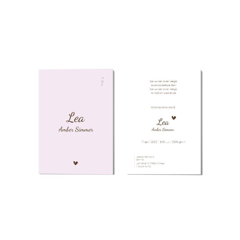 Geboortekaartje Baby roze kaartje hartje