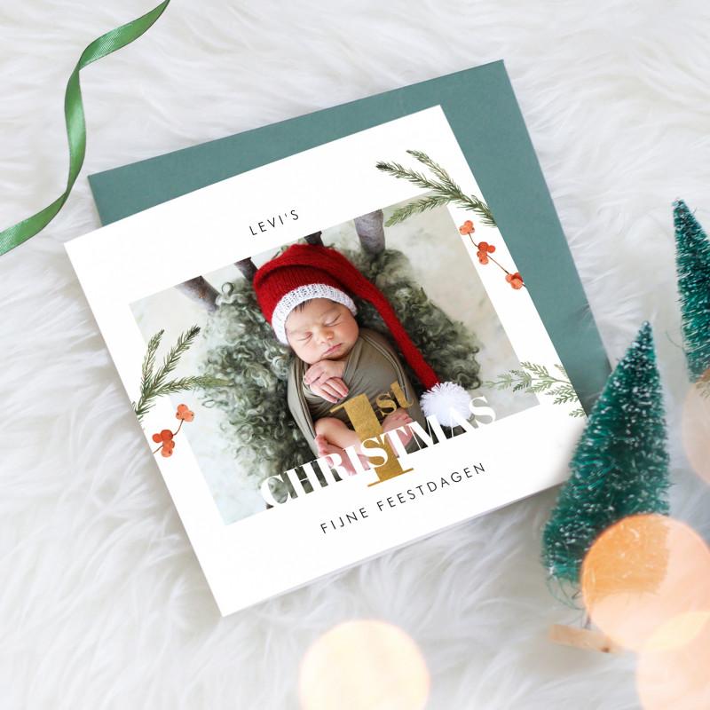 Geboortekaartje Baby's 1st Christmas