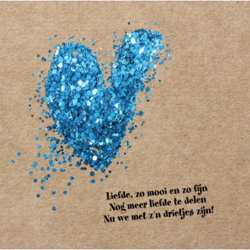 Geboortekaartje Blauw hart