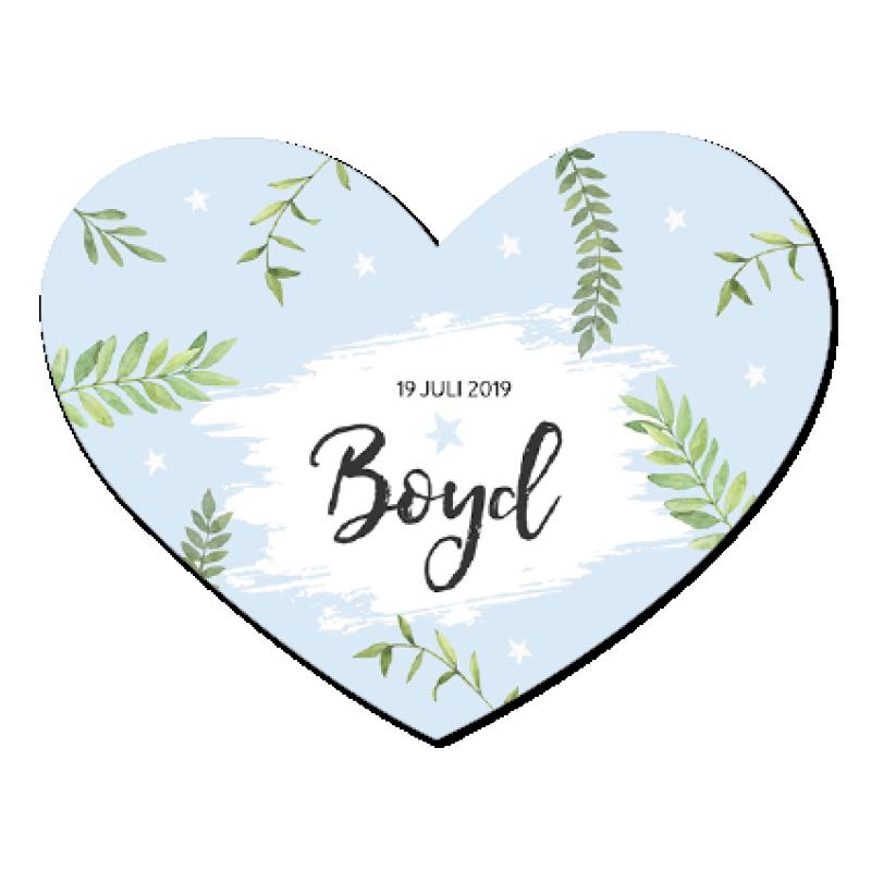 Geboortekaartje Blauw hart met bladeren