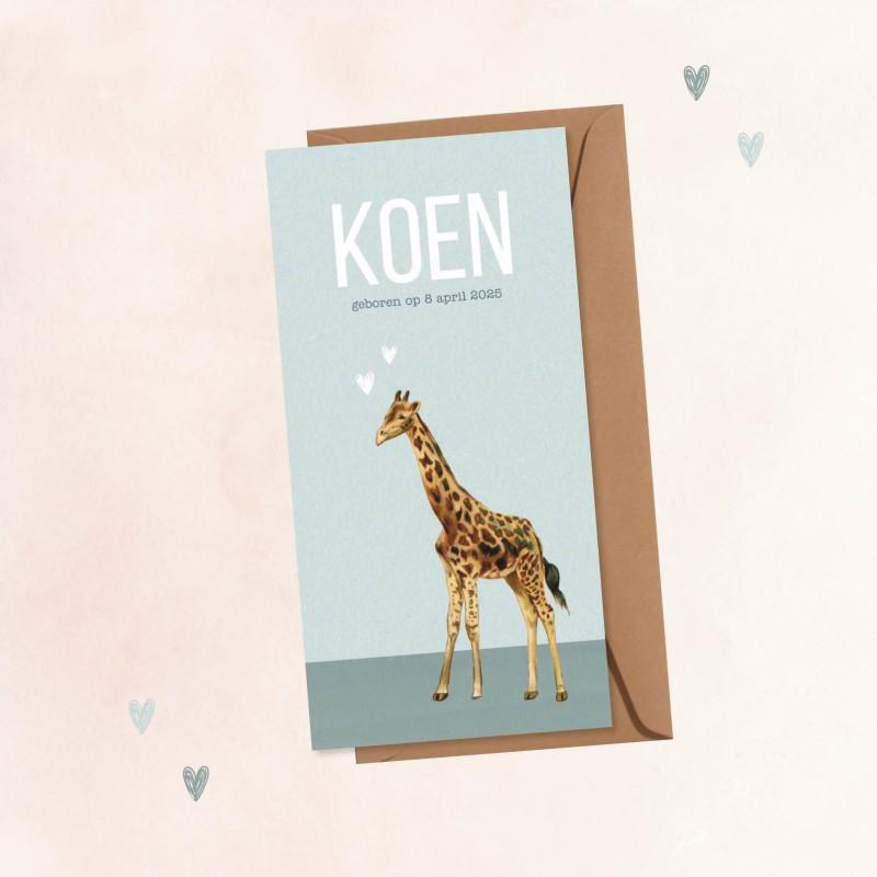 Geboortekaartje Giraf met hartjes