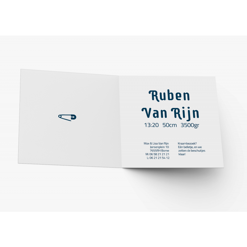 Geboortekaartje Blauw kaartje paperclip