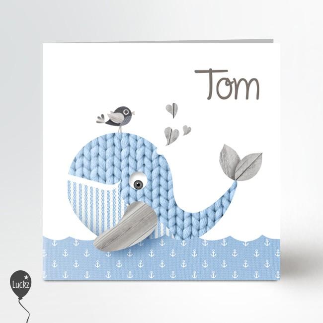 Geboortekaartje Blauw walvis geboortekaart