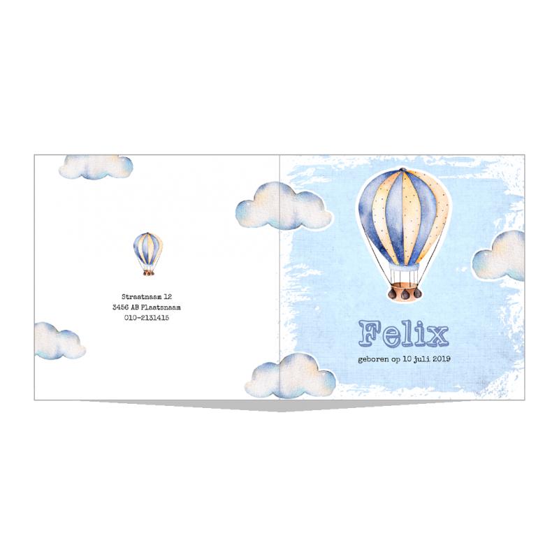 Geboortekaartje Blauwe luchtballon