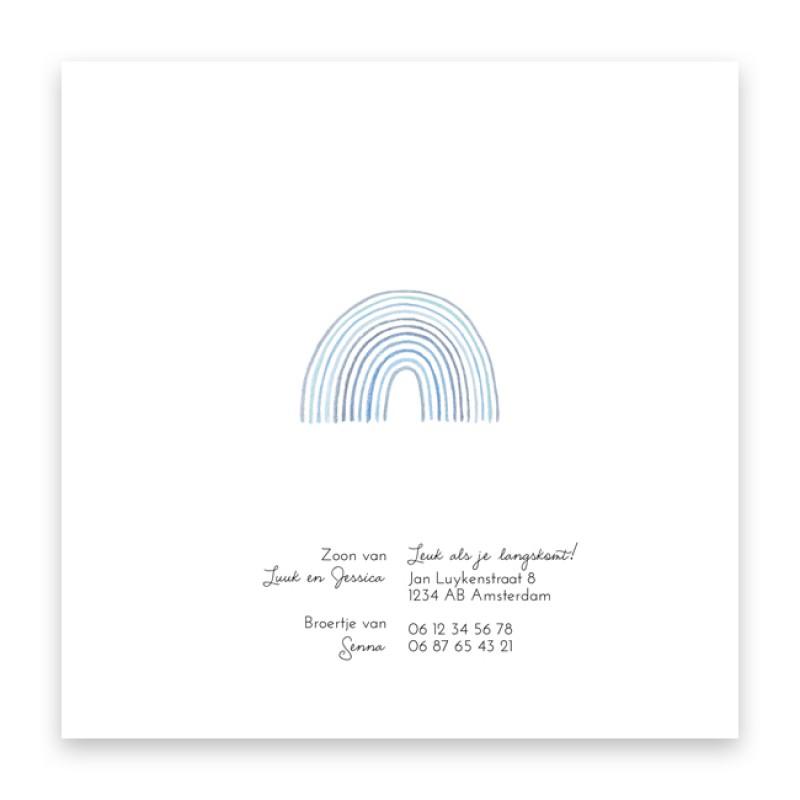 Geboortekaartje Blauwe regenboog