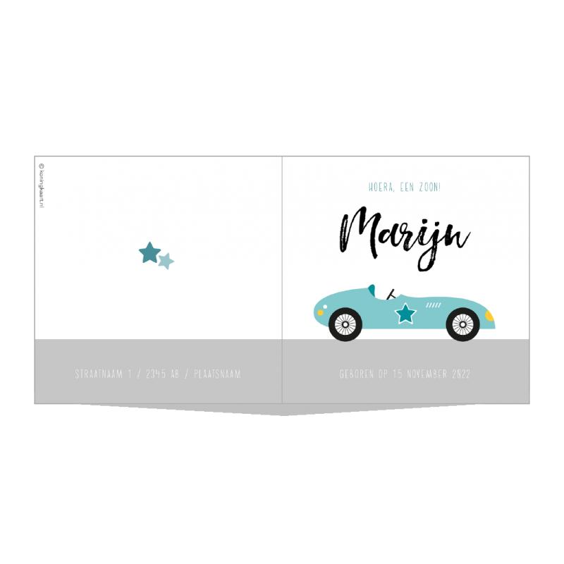 Geboortekaartje Blauwe retro auto
