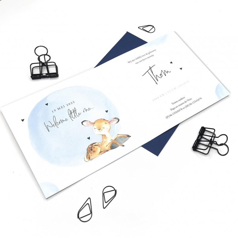 Geboortekaartje Blauwe waterverf en hertje