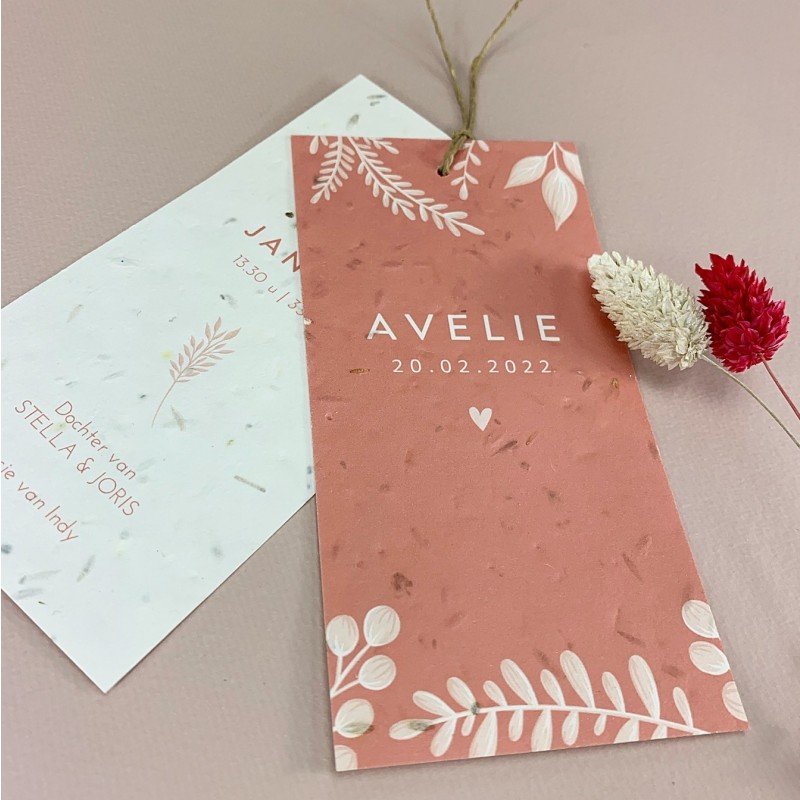 Geboortekaartje Bloeipapier Avelie label