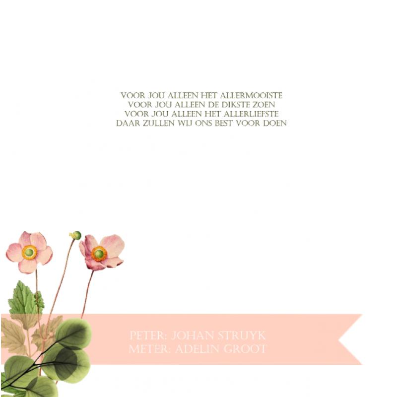 Geboortekaartje Bloemen met strikje