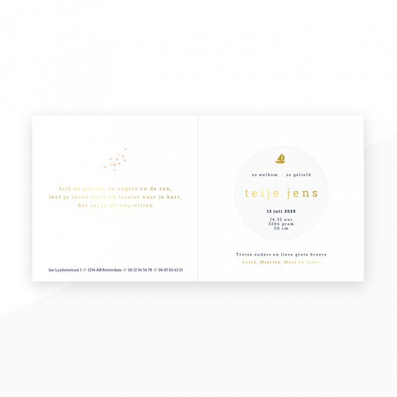 Geboortekaartje bootje - goudfolie