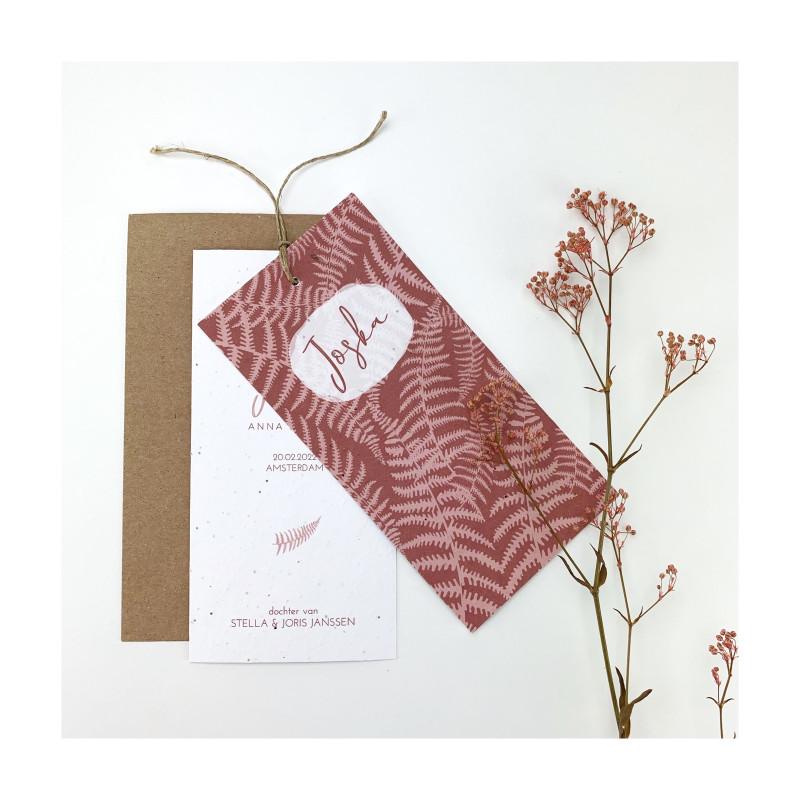 Geboortekaartje Botanisch roze rood