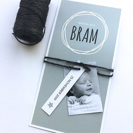 Geboortekaartje Cirkel en label