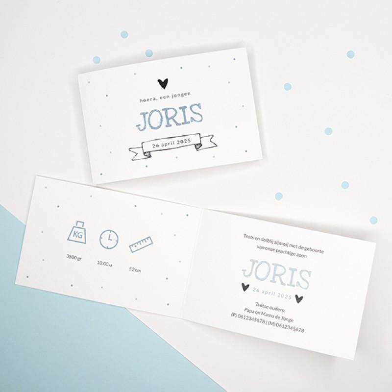 Geboortekaartje Confetti en banner