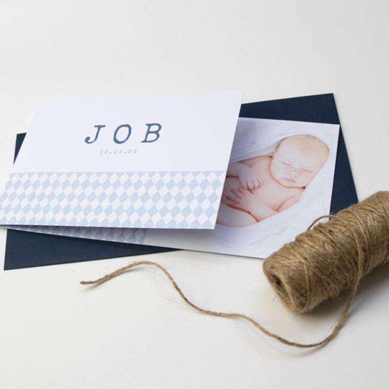 Geboortekaartje DIY blauwe ruitjes