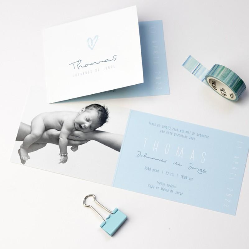 Geboortekaartje DIY met blauw hartje