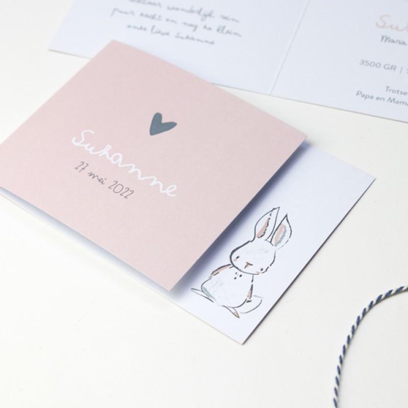 Geboortekaartje DIY met getekend konijntje