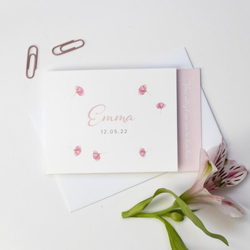 Geboortekaartje DIY met roze bloemen