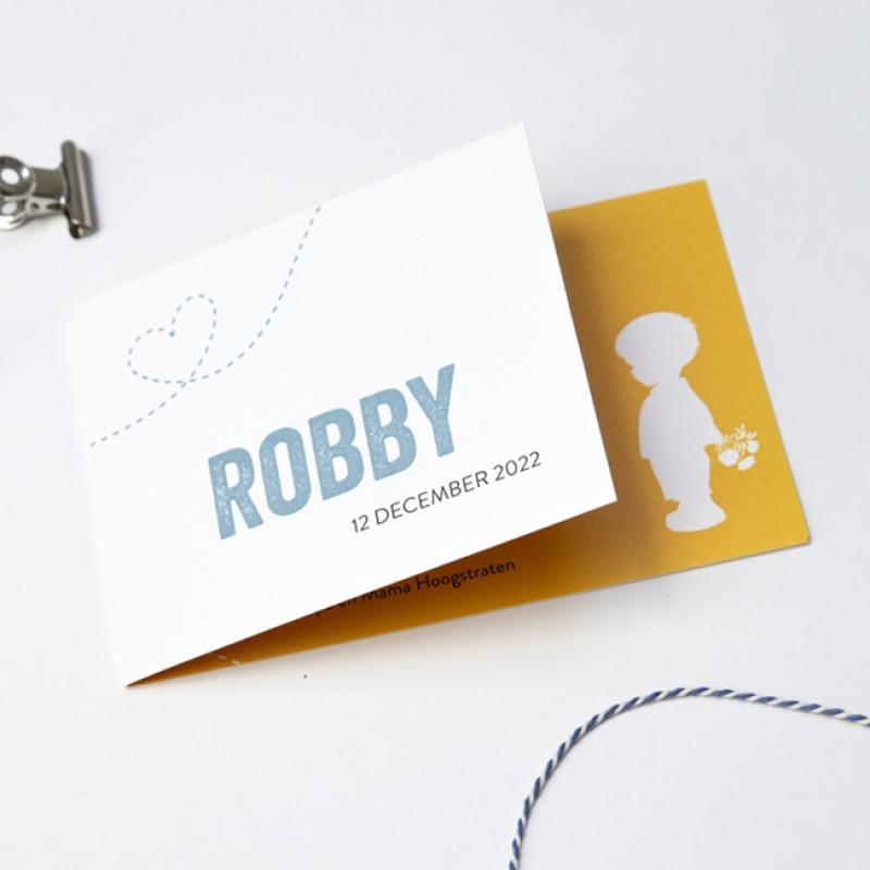 Geboortekaartje DIY met wit silhouet