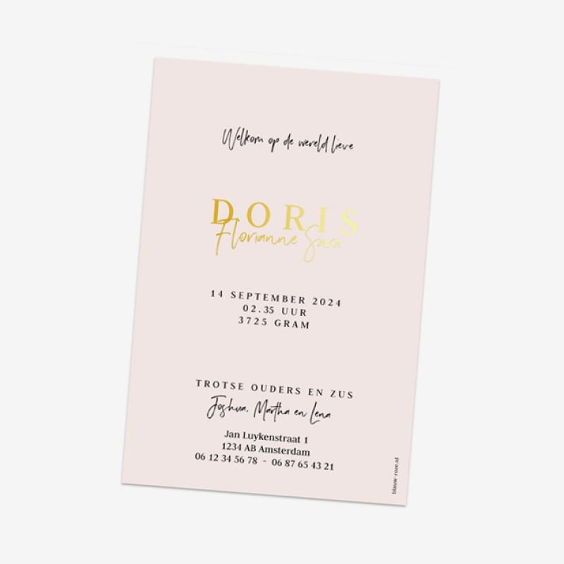 Geboortekaartje Doris - goudfolie