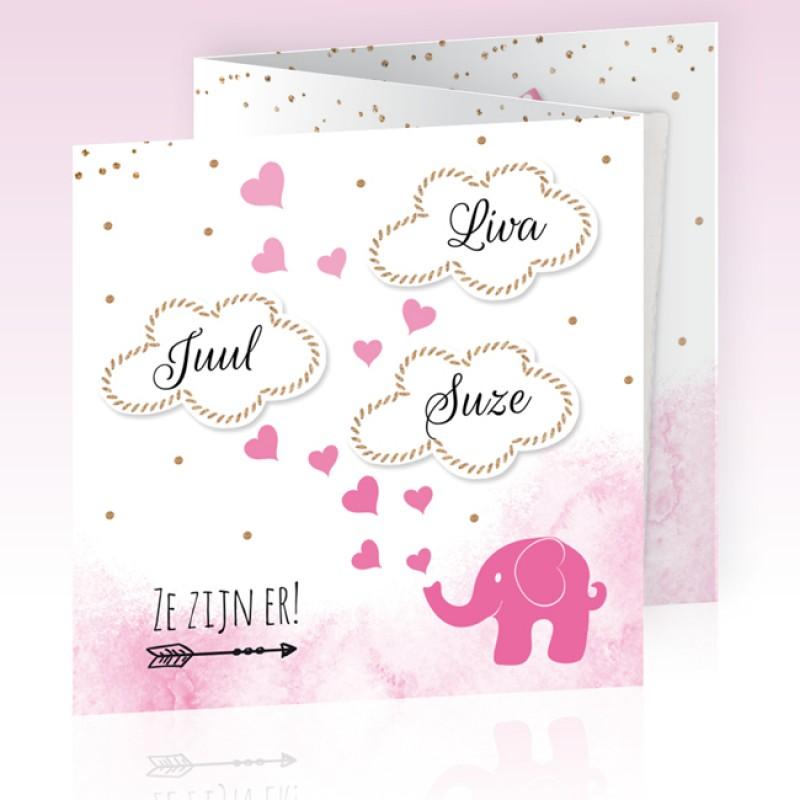 Geboortekaartje Drieling olifantje