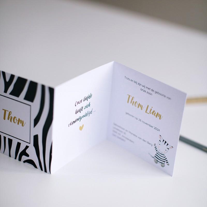 Geboortekaartje Drieluik Zebraprint
