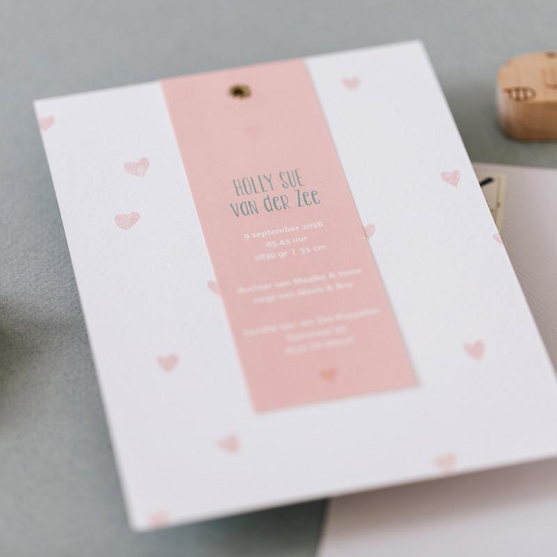 Geboortekaartje Dwarrelende Hartjes - roze