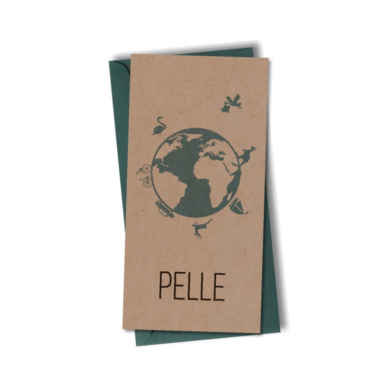 Geboortekaartje Echt kraft karton Pelle