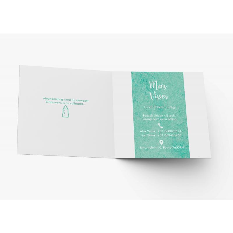Geboortekaartje Elegant groen kaartje