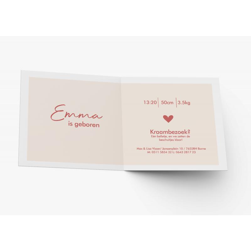 Geboortekaartje Elegant kaartje meisje
