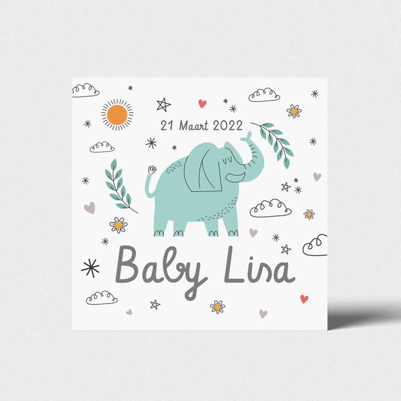 Geboortekaartje Feestelijke olifant