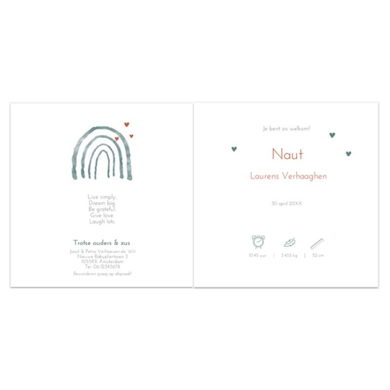 Geboortekaartje Folie kaart regenboog