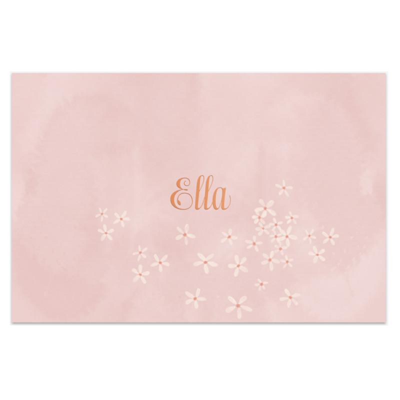 Geboortekaartje Foliedruk &  bloemetjes