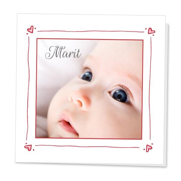 Geboortekaartje Foto delfs rood kader