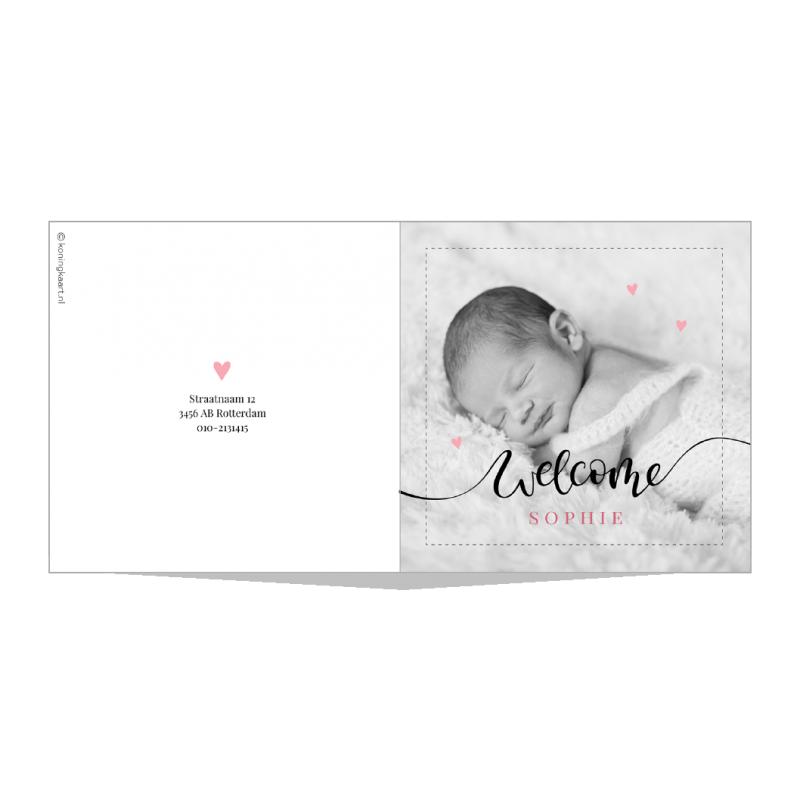 Geboortekaartje Foto en chique tekst