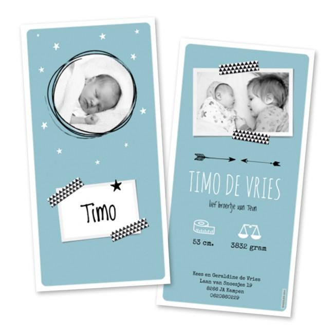 Geboortekaartje Foto en washi