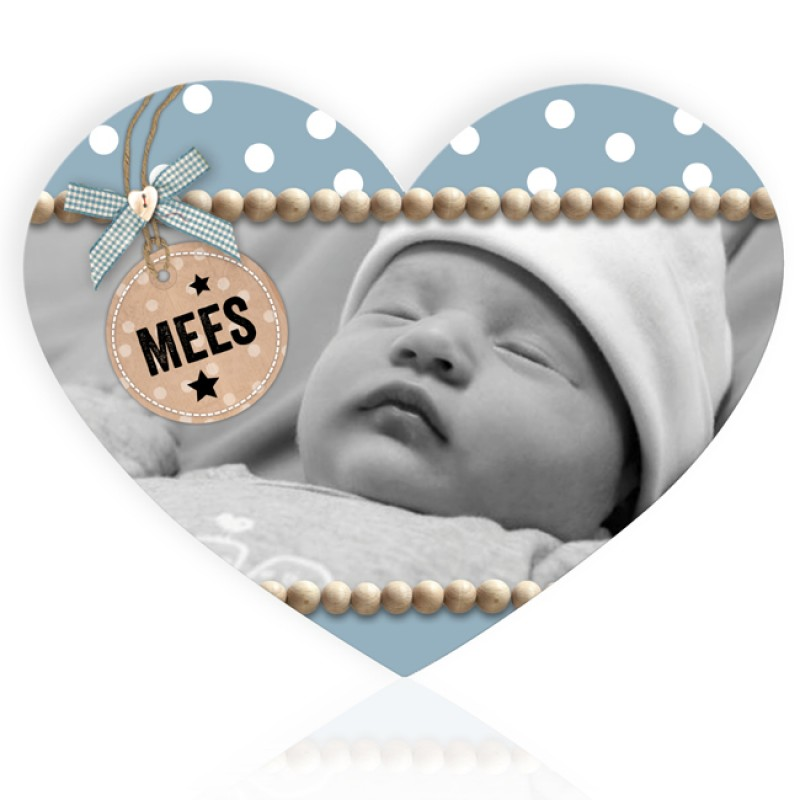 Geboortekaartje Hartvorm met foto