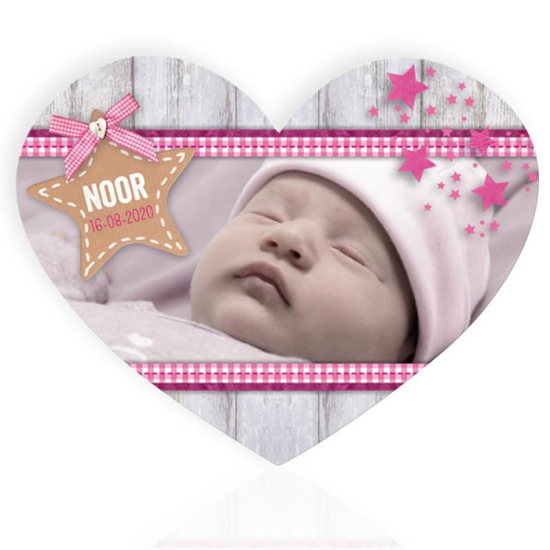 Geboortekaartje Met foto hartvorm