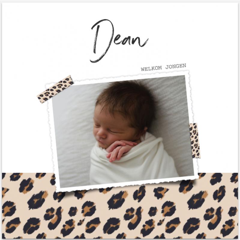 Geboortekaartje Foto met panterprint