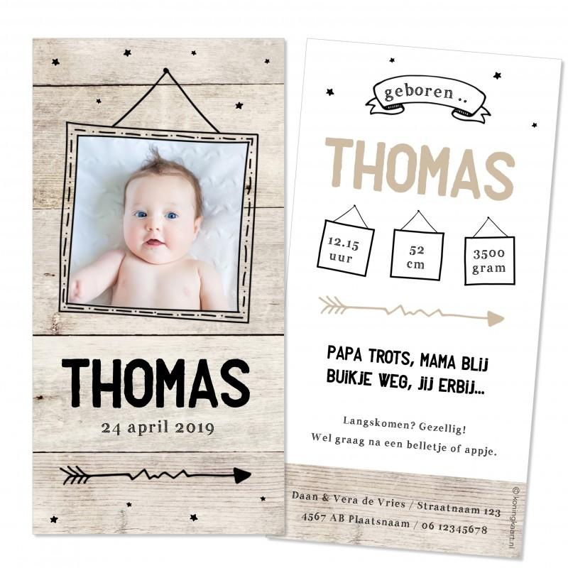 Geboortekaartje Fotolijst en hout