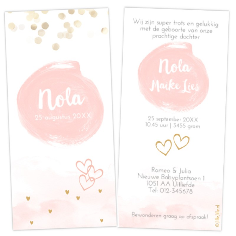 Geboortekaartje geboortekaart confetti