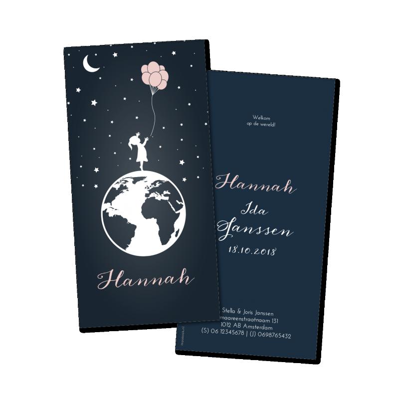 Geboortekaartje Geboortekaart - Hannah