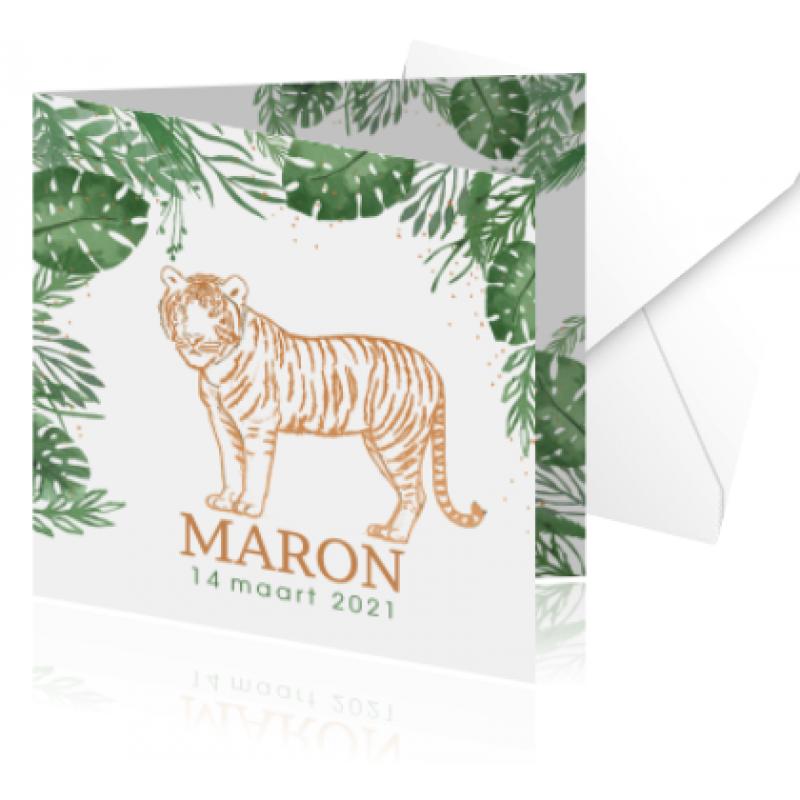 Geboortekaartje Geboortekaart met tijger