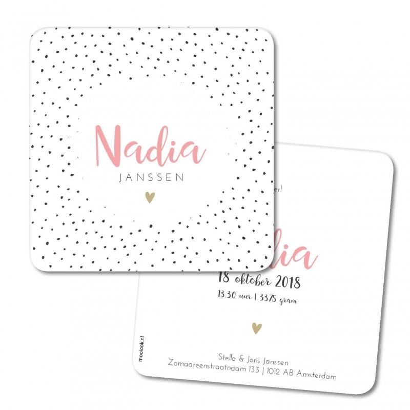 Geboortekaartje Geboortekaart - Nadia