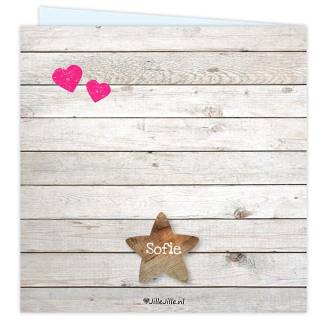 Geboortekaartje Geboortekaart steigerhout