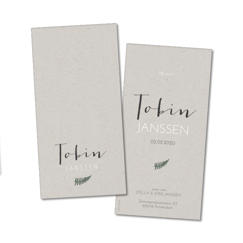 Geboortekaartje Geboortekaart - Tobin